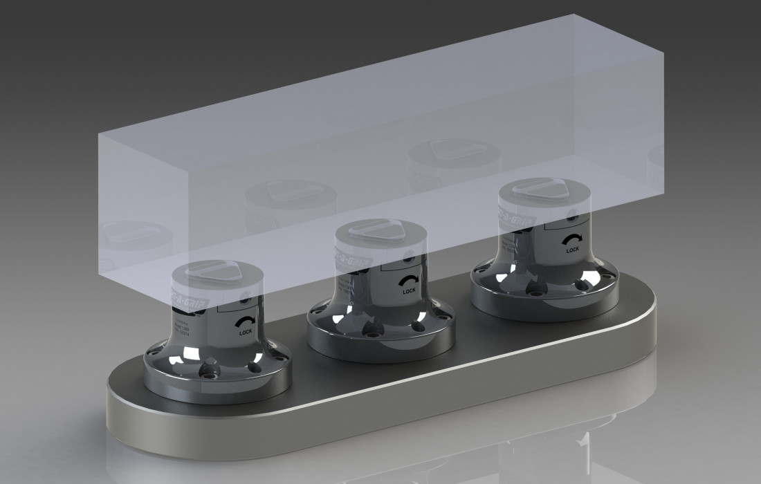 Multiple Get-A-Grip Workholding Fixtures used to hold a large workpiece for 4axis or 5-Axis CNC Milling